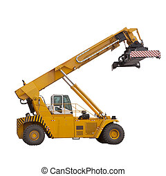 yellow  large forklifts isolated white use for multipurpose