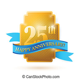 25 years anniversary golden seal with ribbon. illustration...