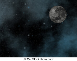 Night sky with moon - Starry night sky with moon