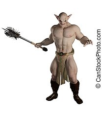 Goblin Warrior with Mace - Goblin warrior carrying a mace,...