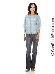 casual woman - pretty brunette in her 40s wearing casual...