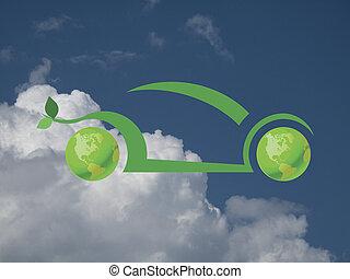 verde, coche
