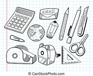 doodle stationery icons
