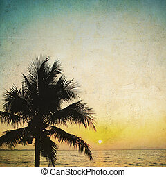 Coconut palm tree silhouetted and sunrise in vintage...