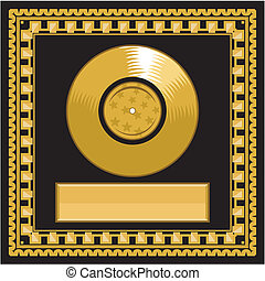 Blank golden LP disc in the frame