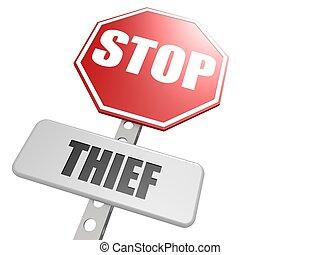Stop thief road sign - Hi-res original 3d-rendered computer...