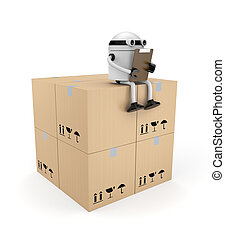 Robot with clipboard and boxes - Business concept. Isolated...