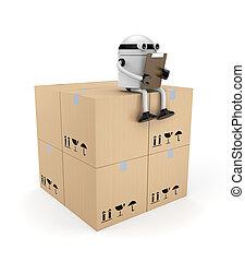 robot, appunti, scatole
