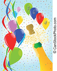 Champagne Party 2014 - Multi coloured balloons, confetti and...
