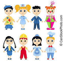 Set of profession cartoon characters. Vector illustration.