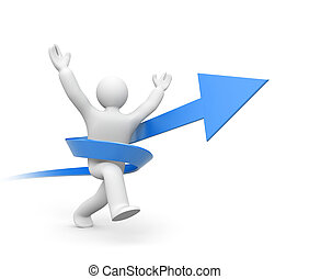 Person running to success - Business concept Isolated on...