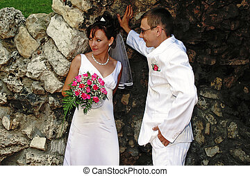 Bride and groom in the grotto - Image of the bride and groom...