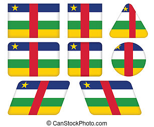 flag of Central African Republic - set of buttons with flag...