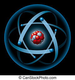 Atom Having Nucleus And Electrons - Atom with blue electron...