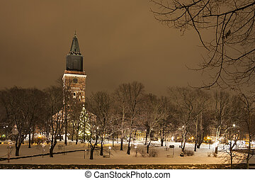 Church in Turku, Finland - Tall church in Turku, Finland in...