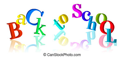 "Fun 3D""Back to school"" text - Fun 3D, colorful ""Back to..."