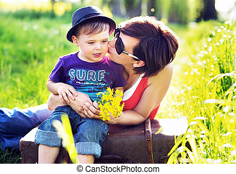Portrait of a pretty mother and cute son - Portrait of a...