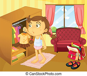 A girl changing clothes - Illustration of a girl changing...