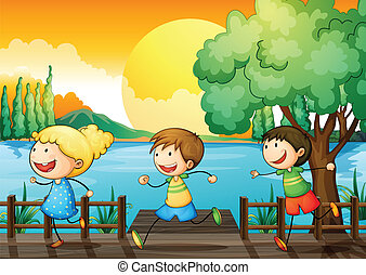 Children playing in the river - Illustration of the children...