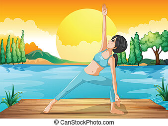 A girl stretching near the river - Illustration of a girl...