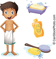 A young man taking a bath - Illustration of a young man...