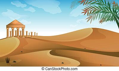 The Parthenon in the desert - Illustration of the Parthenon...