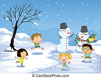 Children playing in the snow - Illustration of the children...