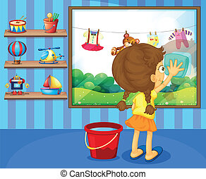 A girl cleaning her window pane - Illustration of a girl...