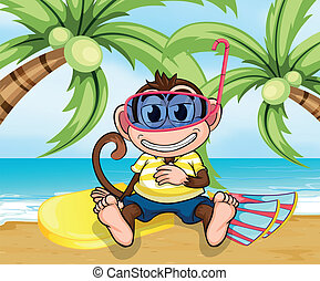 A monkey with goggles at the beach - Illustration of a...