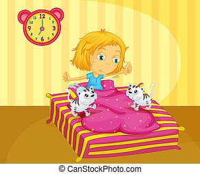A girl waking up at the bed with two kittens - Illustration...