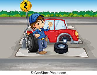 A boy repairing a car at the pedestrian lane - Illustration...