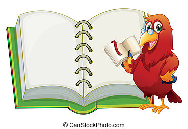 A parrot and an empty notebook - Illustration of a parrot...