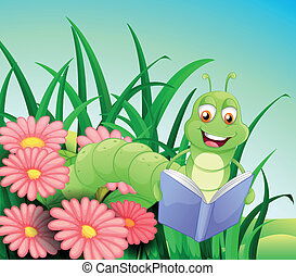 A worm reading a book - Illustration of a worm reading a...