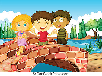 Three kids at the bridge - Illustration of the three kids at...