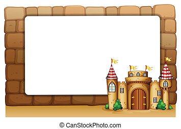 A castle in front of an empty signage - Illustration of a...