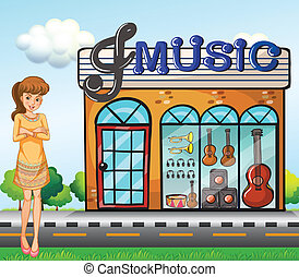 A girl near the music shop - Illustration of a girl near the...