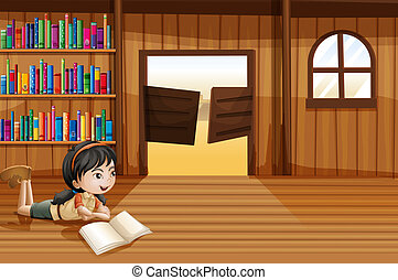 A girl reading a book in the library with a swingdoor