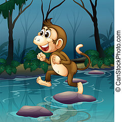 A monkey smiling while crossing the river - Illustration of...