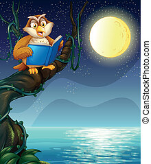 An owl reading a book above a branch of a tree -...
