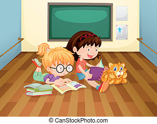 Two girls reading books inside a room - Illustration of the...