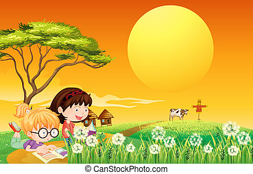 Two girls reading books at the farm