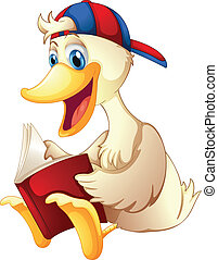 A happy duck reading a book - Illustration of a happy duck...