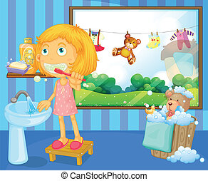 A girl brushing her teeth - Illustration of a girl brushing...