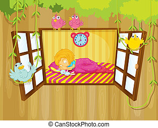 A young girl sleeping - Illustration of a young girl...