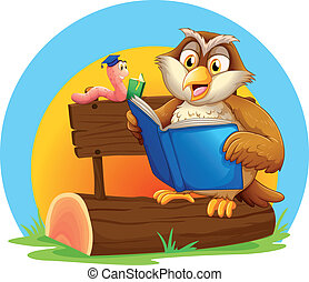 An owl and a worm reading a book - Illustration of an owl...