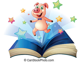 An open book with a pig jumping happily