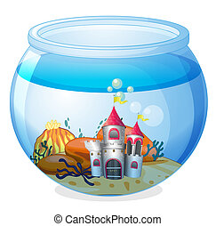 A castle inside an aquarium - Illustration of a castle...