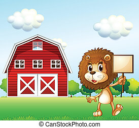 A lion near the barn holding an empty signboard