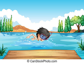 A boy swimming in the river with a pink goggle -...
