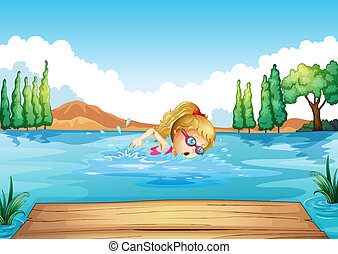 A girl swimming in the river - Illustration of a girl...